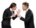 Two business people debate isolated on white concept of competition and job competitive promotion Stock Photography