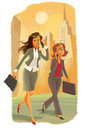 Two business women in the city are talking on the phone Stock Images