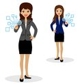 Two business women press index fingers the virtual buttons vector illustration Stock Image