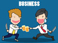 Two businessman with beer.