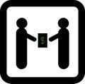 Two businessmen make a deal. dollars