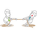 Two businessmen rope pulling Royalty Free Stock Photos