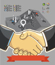 Two businessmen shaking hands illustration of success Stock Images