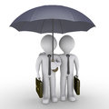 Two businessmen under one umbrella Royalty Free Stock Photo