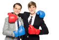 Two businessmen wearing boxing gloves Royalty Free Stock Photo