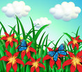 Two butterflies at the garden with red flowers Royalty Free Stock Photo