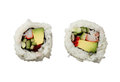Two california rolls sushi isolated on white background top view Royalty Free Stock Photo
