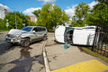 Two car crash accident road city Stock Photography