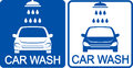 Two car wash icons blue with shower head Stock Photos