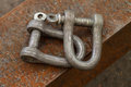 Two carabiner chain industrial tools Royalty Free Stock Image