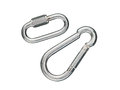 Two carabiners a pair of for the best security while climbing in mountain Stock Image