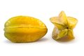 Two carambola fruits on white background Stock Image