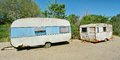 Two caravans and sky blue Royalty Free Stock Images