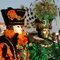 Two Carnival Goers, Venice Royalty Free Stock Photos