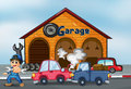 Two cars bumping in front of the garage illustration Stock Image
