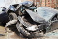 Two cars car broken during road accident Royalty Free Stock Photo