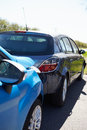 Two cars involved in traffic accident close up of Royalty Free Stock Photo