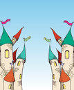Two cartoom castle scetch a Royalty Free Stock Images