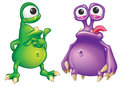 Two cartoon alien creatures isolated on white background green and purple Royalty Free Stock Photos