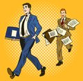 Two cartoon businessmen over a yellow background, one smart and organised carrying a briefcase and the second rushing Royalty Free Stock Photo