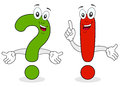 Two cartoon character smiling a green question mark and a red exclamation point Royalty Free Stock Images