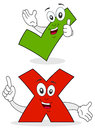 Two cartoon character smiling a green yes check mark and a red no Stock Images
