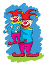 Two cartoon clowns, one big one small Royalty Free Stock Photo