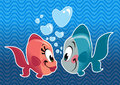 Two cartoon cute fishes couple falling in love fish with heart bubbles under the sea Royalty Free Stock Photography