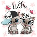 Two Cartoon Kittens boy and girl with cap and bow