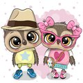 Two Cartoon Owls on a heart background