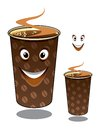 Two cartoon takeaway coffees in mugs decorated with coffee beans and hot steam one with a happy smiling face and one without and Stock Photos