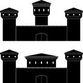 Two castles stencils vector illustration Royalty Free Stock Image