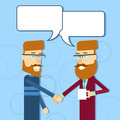 Two casual business man greeting shake hands with chat bubble flat vector illusatrtion Stock Photo