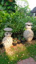 Two cat doll garden decoration dolls gatden and design Stock Photo