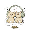 Two cats cartoon cat listening to music Stock Photo