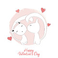 Two cats kissing happy valentine s day vector illustration Stock Photo