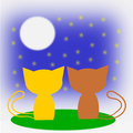 Two cats in love and Moon. Stock Illustration Royalty Free Stock Photo