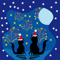 Two cats meet a holiday Stock Images