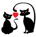 Two cats and red heart vector illustration Stock Image