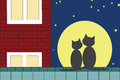 Two cats sitting on the roof on the background of the moon Royalty Free Stock Images