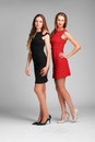 Two caucasian  fashion models posing in studio on grey backgroun Royalty Free Stock Photo