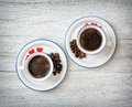 Two Ceramic Cups Of Coffee Wit...