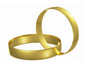 Two chained golden wedding rings Stock Photos