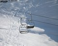 Two chair lift with snowdrift in sun morning caucasus mountains georgia ski resort gudauri Stock Photography