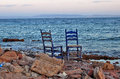 Two chairs  on the empty beach Royalty Free Stock Image