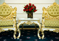Two chairs and marble table Royalty Free Stock Photo