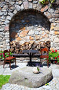 Two chairs and a table place outside for persons Royalty Free Stock Photo