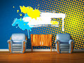 Two chairs with wooden bedside and splash frame Royalty Free Stock Photo