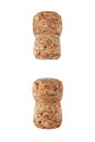 Two champagne corks isolated on white Royalty Free Stock Photo