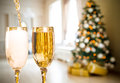 Two Champagne Glass On Defocused Background Royalty Free Stock Photo